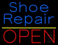 Blue Shoe Repair Open With Yellow Line LED Neon Sign