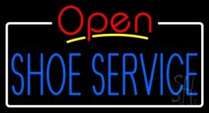 Blue Shoe Service Open LED Neon Sign