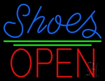 Blue Shoes Open With Line LED Neon Sign