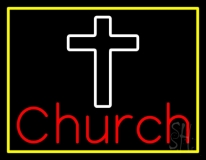 Church With Cross Yellow Border LED Neon Sign