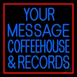 Custom Blue Coffee House And Records Red Border LED Neon Sign
