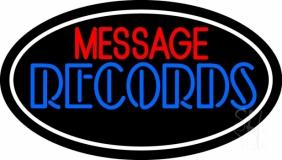 Custom Blue Double Stroke Records White Border LED Neon Sign