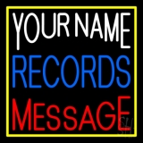Custom Blue Records Block Yellow Border LED Neon Sign