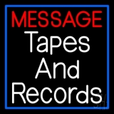 Custom Records And Tapes Blue Border LED Neon Sign