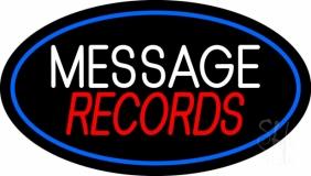 Custom Records Block Blue Border 4 LED Neon Sign
