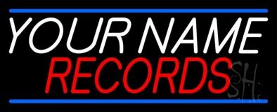 Custom Records Block Blue Line LED Neon Sign