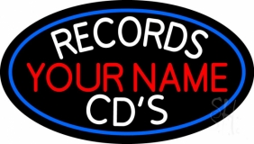 Custom Records Cds White Border Blue LED Neon Sign