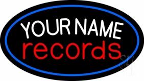 Custom Records Red Border Blue 1 LED Neon Sign