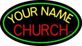 Custom Red Church Green Border LED Neon Sign