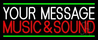 Custom Red Music And Sound Green Line LED Neon Sign