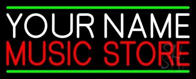 Custom Red Music Store Green Line LED Neon Sign
