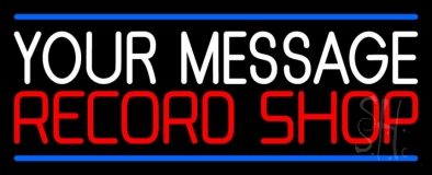 Custom Red Record Shop Blue Line LED Neon Sign