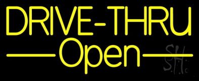 Yellow Drive Thru Open LED Neon Sign
