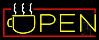 Yellow Tea Open With Red Border LED Neon Sign