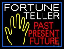 Fortune Teller Past Present Future Blue Border LED Neon Sign