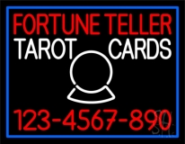 Fortune Teller Tarot Cards With Phone Number Blue Border LED Neon Sign