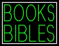 Green Books Bibles With Border LED Neon Sign
