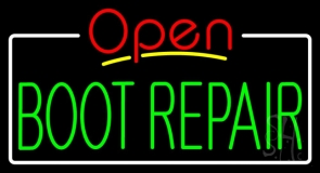 Green Boot Repair Open LED Neon Sign