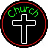 Green Church With Cross LED Neon Sign