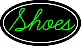 Green Cursive Shoes With Border LED Neon Sign