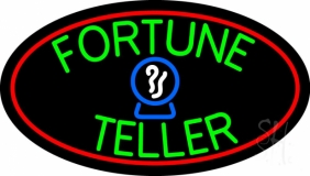 Green Fortune Teller Red Oval LED Neon Sign