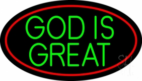 Green God Is Great LED Neon Sign