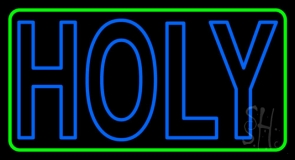 Green Holy With Border LED Neon Sign