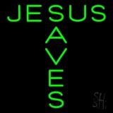 Green Jesus Saves LED Neon Sign
