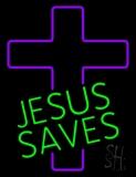 Green Jesus Saves Purple Cross LED Neon Sign