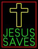 Green Jesus Saves Yellow Cross LED Neon Sign