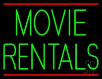 Green Movie Rentals With Line LED Neon Sign