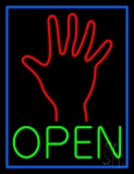 Green Open Psychic Blue Border LED Neon Sign
