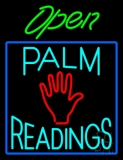 Green Open Turquoise Palm Readings Blue Border LED Neon Sign