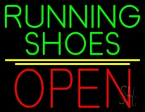 Green Running Shoes Open LED Neon Sign