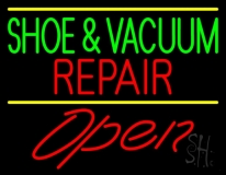 Green Shoe And Vacuum Red Repair Open LED Neon Sign