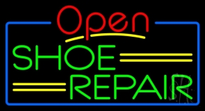 Green Shoe Repair Open With Blue Border LED Neon Sign