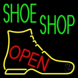 Green Shoe Shop Open LED Neon Sign