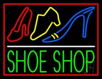 Green Shoe Shop With Border LED Neon Sign