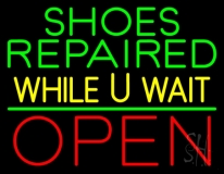 Green Shoes Repaired Yellow While You Wait Open LED Neon Sign