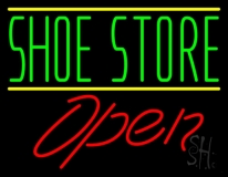 Green Shoe Store Open LED Neon Sign