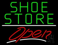 Green Shoe Store Open With Line LED Neon Sign