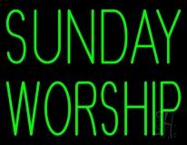 Green Sunday Worship LED Neon Sign