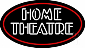 Home Theatre With Border LED Neon Sign