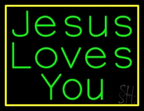 Jesus Loves You With Border LED Neon Sign