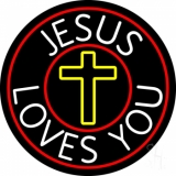 Jesus Loves You With Red Border LED Neon Sign