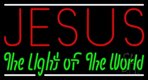 Jesus The Light Of World With Line LED Neon Sign