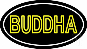 Lord Buddha With Border LED Neon Sign