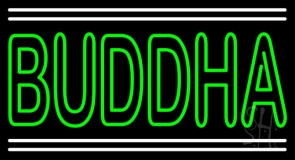 Lord Buddha With White Line LED Neon Sign