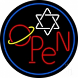 Open Psychic Blue Border LED Neon Sign