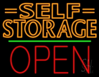 Orange Self Storage Block With Open 1 LED Neon Sign